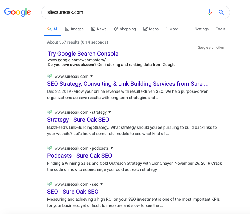Google SERPs page