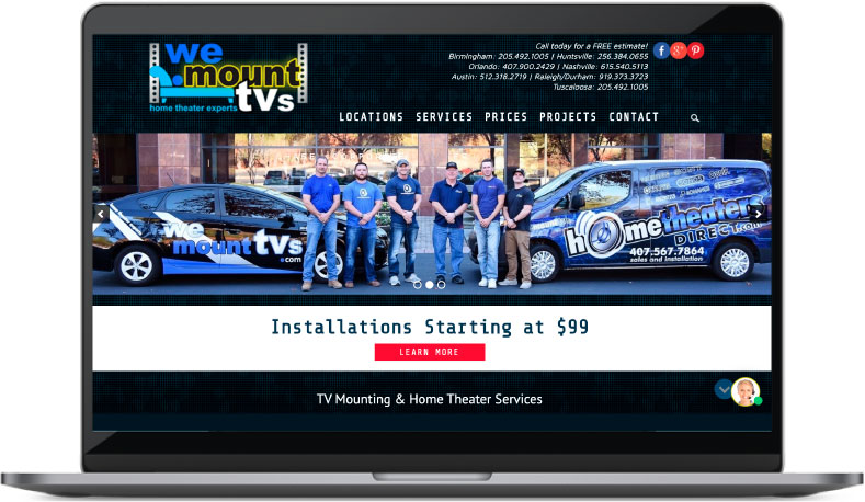 We Mount TVs Website